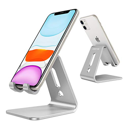 OMOTON Desktop Cell Phone Stand [Updated Solid Version], Advanced 4mm Thickness Aluminum Stand Holder for Switch, Mobile Phone (All Size), iPhone 11 Pro Xs Max Xr, Silver