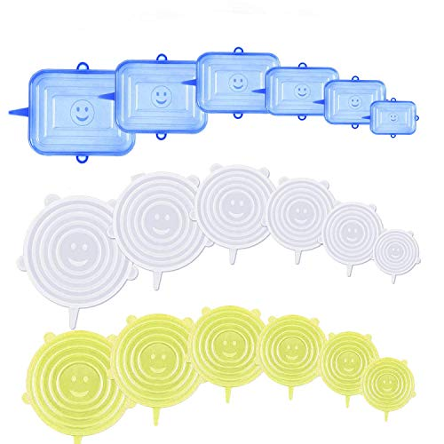 YOUYIKE® 18 Pièces Couvercles en Silicone, Couvercle Extensibles en Silicone sans BPA, Couvercle Universel de 6 Tailles Differentes pour Micro-Ondes/Le Four/Le Frigo/Le Lave-Vaisselle
