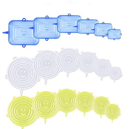 YOUYIKE® Couvercles en Silicone, Couvercle Extensibles en Silicone sans BPA, Couvercle Universel de 6 Tailles Differentes pour Micro-Ondes/Le Four/Le Frigo/Le Lave-Vaisselle (Sblue+Rwhite+Ryellow, 18)