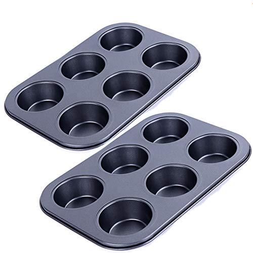 Muffin Pan, Kmeivol Muffin Tin 2 Pack, Premium Quality Tinplate Mini Cupcake Pan 6 Cups, Metallic Professional Small Muffin Tins Perfect Result, Durable Standard Mini Muffin Pan Quick Release