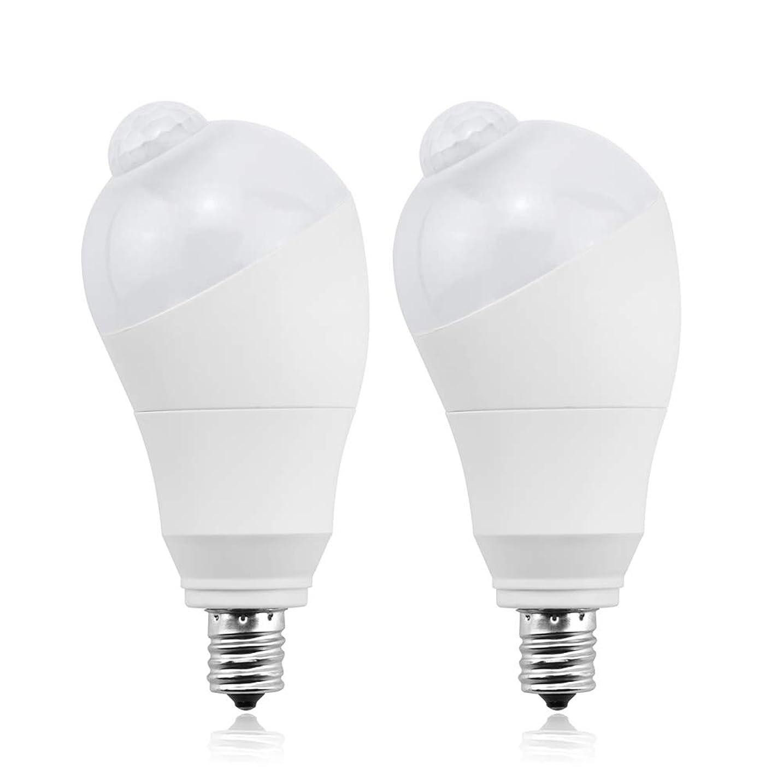 対称道ポップLED電球 人感センサー電球 E17 50W形相当 5W センサーライト 自動点灯/消灯 斜め 360度回転 検知角度調節可能 省エネ 防犯ライト 電球色 2個入り
