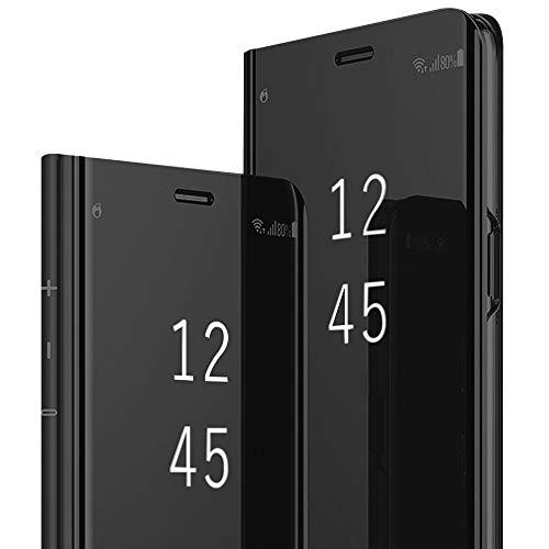 Für Samsung Galaxy S9 Plus Hülle Galaxy S9 Plus Handyhülle Spiegeln Leder Flip Hülle Ständer Clear View Spiegel 360 Grad Tasche Schutzhülle mit Standfunktion Handyhülle (Schwarz)