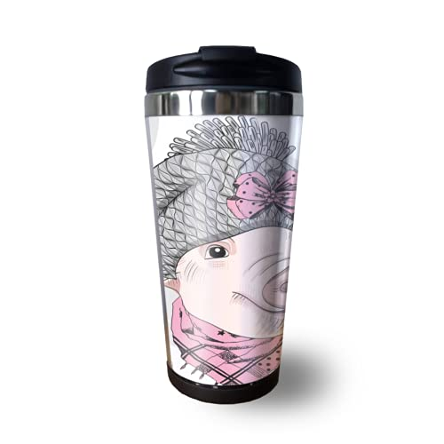 Travel Coffee Mug Spill Proof With Flip Lid Cute Funny Pigs Pet Animal Insulated Thermal Coffee Tumbler Cup 12 Oz Personalized Mugs Leakproof For Women Men Kids Car, Tall Small