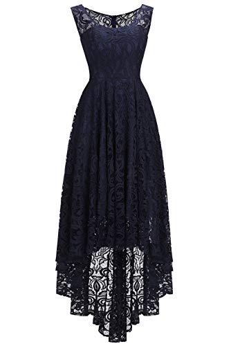 Babyonlinedress® Damen Elegant Kleid Spitzenkleid Partykleid Cocktailkleid Abendkleider Ballkleider Festliches Kleid Langarm A Linie Dunkelblau 56