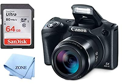 Canon PowerShot SX420 Digital Camera w/42x Optical Zoom - Wi-Fi & NFC Enabled (Black) + 64GB SD Memory Card by Accessory Zone