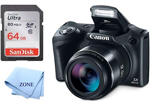 Canon PowerShot SX420 Digital Camera w/42x Optical Zoom - Wi-Fi & NFC Enabled (Black) + 64GB SD Memory Card