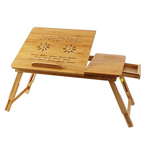 Fly Hong Bamboe Computer Desk, Opvouwbaar Bed Laptop Tafel for Links of Rechts Hander, Bank dienblad Ontbijt Stand met kleine lade (Size : 54cm)