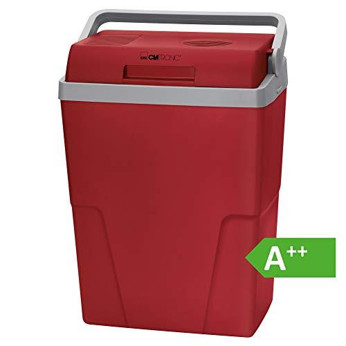 Clatronic KB 3713 Kühlbox ECOSAVE // Ideal für Camping, Reise und Einkauf // 12 Volt und 230 Volt-Anschlusskabel // kühlt bis zu 18°C unter Umgebungstemp. // ca. 25 L // rot-grau // A++