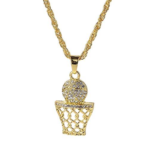 BAIYAN Hiphop Collar, Iced out Gold Rhinestone Completo Baloncesto Collares Colgantes Hip Hop Bling Deportes Hombres Mujeres Joyería