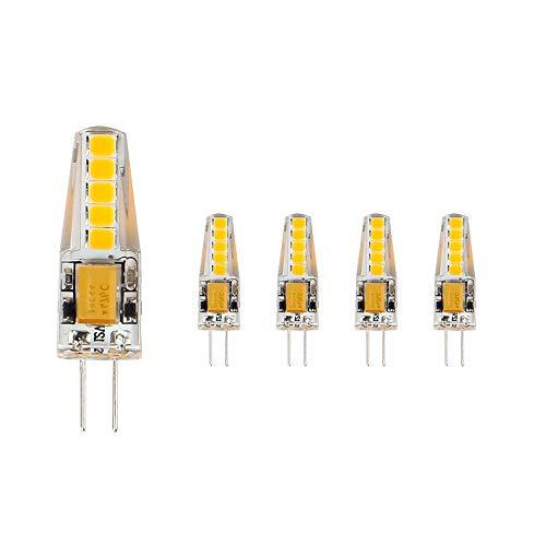 ELINKUME 5X Ampoules G4 LED Blanc Chaud, 36mm x 9mm Plus Proche de la Taille Traditionnelle, 3W LED Equivalent 23W Ampoule à Halogène, 2,700K, AC/DC 12V