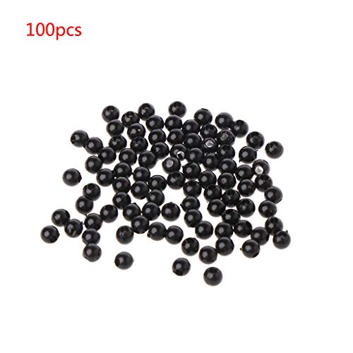 junengSO Round Beads, 100pcs 3-12mm Black Safety Doll Eyes Sewing Beads for DIY Bear Stuffed Toys Scrapbooking Crafts