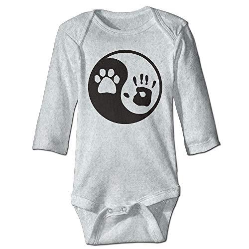 Body de manga larga para beb, unisex, para recin nacido, para perro, de Yin Yang, de manga larga, para nia, color ceniza