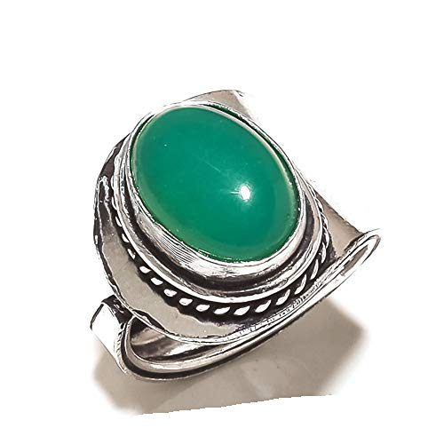 Green Onyx! Global Look! Ring Size 8 US (Sizeable), Auto Fit! Silver Plated, Handcrafted Jewelry Art! All Variety Store!