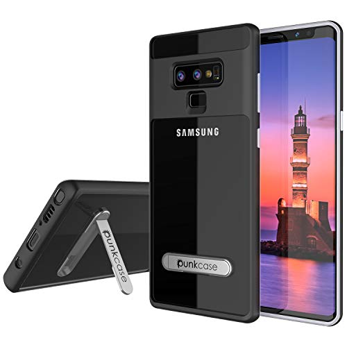 Galaxy Note 9 Case, PUNKcase [Lucid 3.0 Series] [Slim Fit] [Clear Back] Armor Cover w/Integrated Kickstand, Anti-Shock System & PUNKSHIELD Screen Protector for Samsung Galaxy Note 9 [Black]