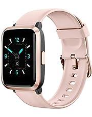 AIKELA Smartwatch, fitnessklocka med pulsoximeter, fitnessövervakning med pulsmätare, blodtrycksmätare, stegräknare, fitnessklocka 5 ATM vattentät, smart klocka kvinnor män för Android iOS