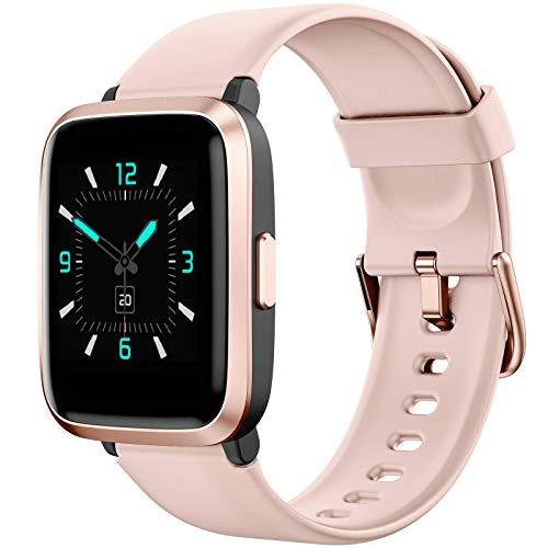 AIKELA Smartwatch,Relojes Inteligentes Mujer Hombre,Deporte Reloj de Fitness con Impermeable IP68,Actividad Monitores de Datos Físicos/Ciclo Menstrual Femenino,Compatible con Android iOS BRosa