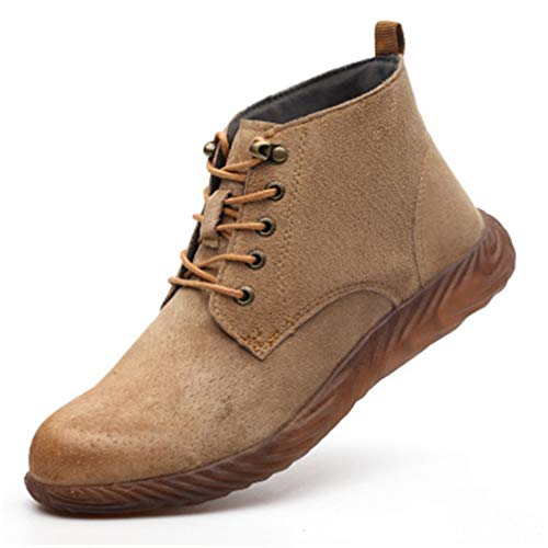 Funeco Plus Size Mens Womens Fashion Steel Toe Cap Work Safety Shoes Lace Up Labor Insurance Shoe Construction Site Security Work Boots (EU 38 / brown1)