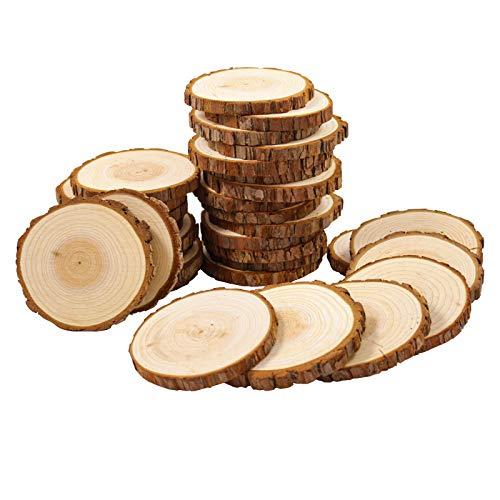 Smart-Planet 40 Holzscheiben Set - Runde Baumscheiben Ø ca. 9-10 cm - Holz Scheiben Naturholz - zum...