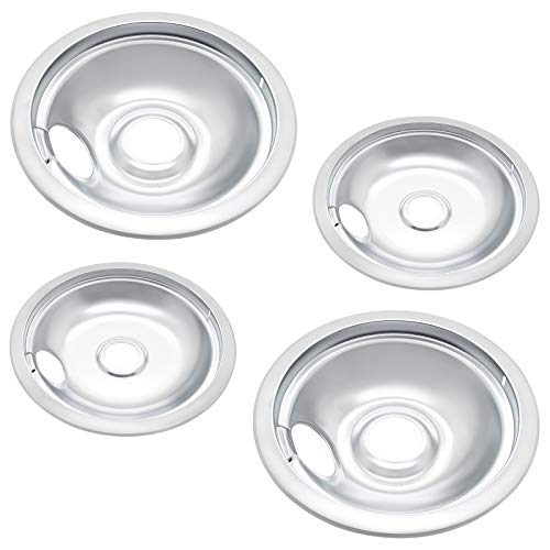 Sikawai 316048413 316048414 Drip Pan Set Replacement for Ken-more Range Replaces 3205286,08002898,WQ215482-Include 2 Pack 6-Inch and 2 Pack 8-Inch Drip bowl