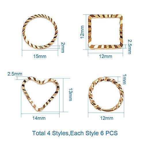 Drreny Gold Geometrische Patroon Verbinden Ring DIY Oorbellen Oorbellen Materiaal Creatieve Sieraden Accessoires Gold - about 24 / box