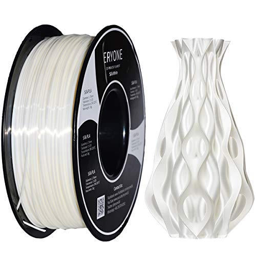 Filamento LA 1,75 mm Bianco Seta, ERYONE Filamento Setoso PLA 1,75 mm, PLA Filamento Stampa 3D per Stampante 3D e Penna 3D, 1 kg 1 Bobina