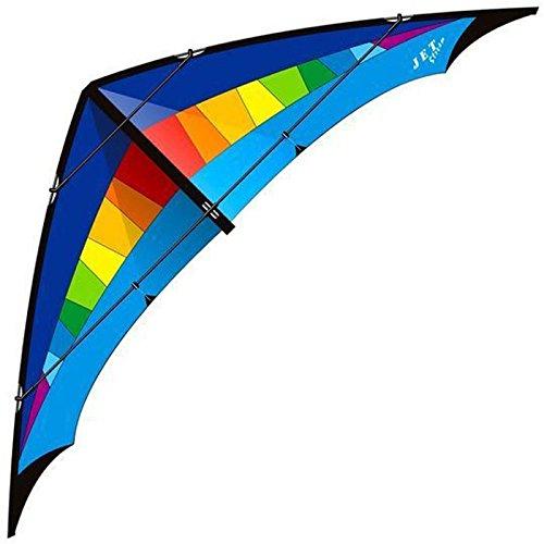elliot 1010546 Elliot Jet Stream Strong, Zweileiner-Lenkdrachen, rtf, 285 x 90 cm, rainbow/blau, Kohlefaser/Cfk-Rohr 8/10 mm