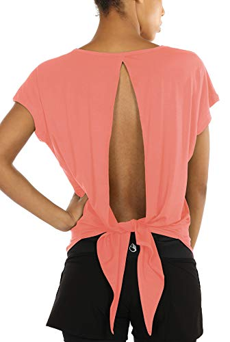 icyzone Damen Rückenfrei Sport Yoga T-Shirts Fitness Kurzarm Oberteil Tops Casual Shirt Loose Fit (S, Fusion Coral)