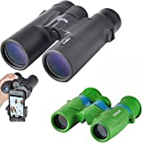 Gosky Compact Parent-Child Binoculars Kits - 10x42 HD Professional Binoculars for Adults &6x21 Lovely Green Folding Binoculars for Kids - Best Gift for Father & Kids for Hiking Camping Travel Outdoor