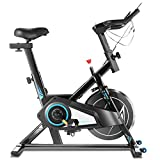 Exercise Spin Bike for Home Gym, Quiet & Smooth & Comfortable, Stationary Spinning Bicycle for Cardio Workout, Indoor Cycling Bike with Adjustable Seat & Resistance, Tablet Mount, 40lb Flywheel