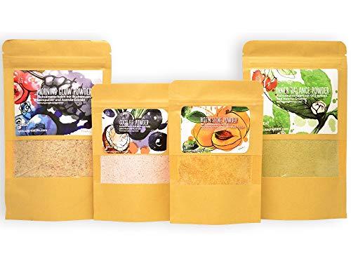 Superfood Smoothie Pulver Mix und Toppings   4er Probierset   Jeweils 7 Portionen   Rein pflanzlich & natürlich   100{6d7edc0d74414ba08dab46af509ddc875905b276f3cd69cf8e78c60806c492ac} Vegan   Matcha   Acai   Flohsamen   Acerola   Darmgesundheit