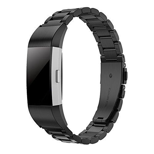 Simpeak Armband Kompatibel für Fitbit Charge 2 [5,1-8,0 Zoll], Edelstahl Metall Uhrenarmband Armbänder Kompatibel mit Fitbit Charge 2 - Schwarz