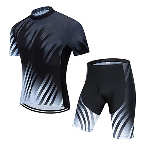 DNJKH Ropa de Ciclismo para Hombre, Manga Corta Transpirable + Pantalones Cortos Acolchados para Deportes al Aire Libre Ciclo Bicicleta