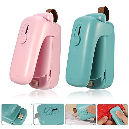 FANTESI 2 Stück Folienschweißgerät, 2 in 1 Heißsiegelgerät mit Cutter, Bag Heat Sealer Hand-Heißsiegelgerät Tragbare Vakuumiergeräte für Plastiktüten Lebensmittellagerung Snack Fresh Bag Seale