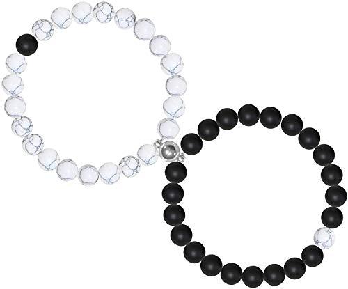 VELESAY 1 Paire Magnetique Bracelet pour Couples Connecté Perles Bracelet pour Homme Femme Pierre Naturelle Bracelet Couple Amoureux pour 2 Elastique Bracelet BFF Bracelet Magnetique Femme Homme