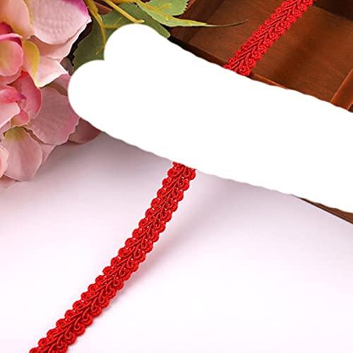 2/5 yardas 12 mm de encaje de costura de encaje rosa dorado plateado ciempi¨¦s cinta de encaje trenzado decoraci¨n de fiesta en casa ropa de bricolaje costura curva de encaje-rojo, 2y