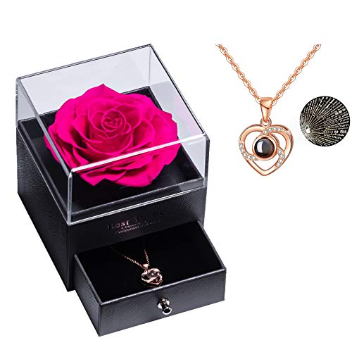 Rosa real preservada Eterna hecha a mano Rosa preservada con amor, collar de regalo, flor rosa real encantada para el día de San Valentín Aniversario Deshierbe cumpleaños Regalos románticos para ella