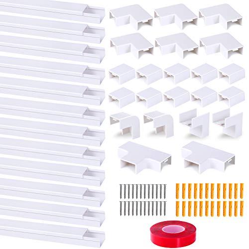 5M Canaleta Para Cableado de 12 piezas, Con cinta nano, Se puede utilizar para ocultar la gestión de cables de todos los cables en el hogar/oficina, Blanco (2.5 x 1.6 x 40cm / 12 x 0.4m)