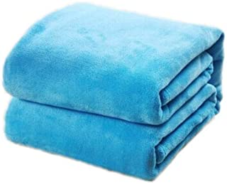 BEESCLOVER Practical 180 * 200cm Sofa/air/Bedding Throw Solid Color and Double Faced Travel Flannel Blanket Blue 180 X 200cm