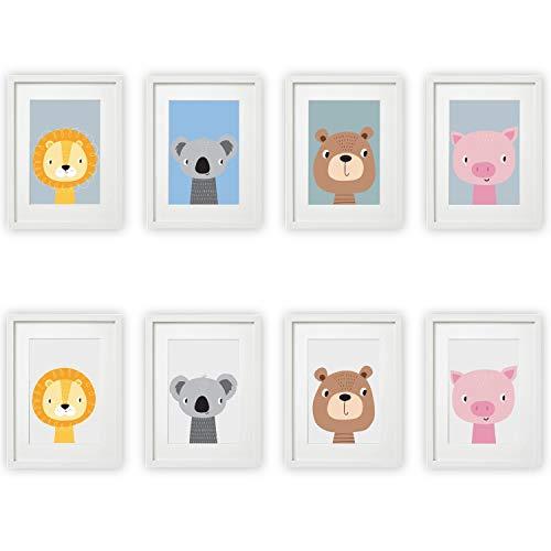 Kinderzimmer Bilder 4er Set Babyzimmer Poster DIN A4 | mit und ohne Hintergrund | für Mädchen & Jungen | Baby Tiere | farbig | Babyzimmer (#12)