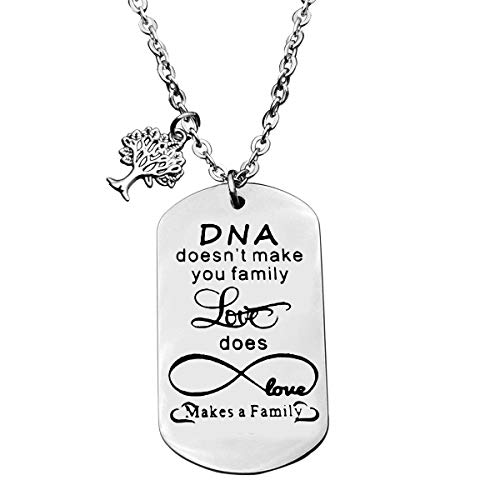 Baipilu Inspirational Love Birthday Gift for Family in Law DNA Doesn't Make You Family,Love Does RY_Keychain Pendant Necklace for Stepmother Stepfather Mothers'Day Fathers' Day Jewelry