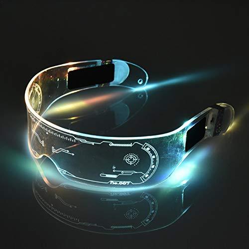 Foxlove Cyberpunk LED Visier Brille Neongläser 7 Farben Leuchtgläser Cyberpunk Sonnenbrille Mit LED-Beleuchtung Perfekt Für Cosplay Und Festivals - Cybergoth - Cyberpunk Brille Brille