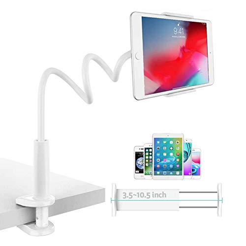 TKOOFN Soporte Tablet 360°, Soporte con Cuello de Cisne Ajustable Clip de Montaje para Mesa Escritorio, Compatible con 3,5-10,5 Ppulgada Teléfonos Inteligentes/i-Pad/Tablets/Switch (Blanco)