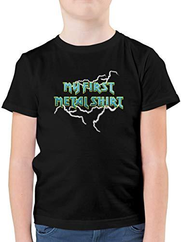 Sprüche Kind - My First Metal Shirt mit Blitzen blau - 116 (5/6 Jahre) - Schwarz - Statement - F130K - Kinder Tshirts und T-Shirt für Jungen