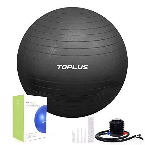 TOPLUS Ballon Fitness Yoga, Balle d'exercice Gymnastique, Ballon Grossesse Anti-éclatement et très épais, 65 * 65cm, Ballon pour Le Yoga, Le Pilates, Le Fitness (65 * 65cm)