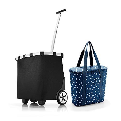 Set aus reisenthel carrycruiser, reisenthel thermoshopper Einkaufstrolley mit Kühltasche (Black + Spots Navy)