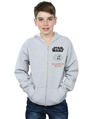 Star Wars niños Force Awakens Millenium Falcon Cremallera Sudadera con Capucha 9-11 Years Gris Sport