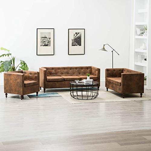FAMIROSA Set sofás Chesterfield 3 pzas tapizado Aspecto de Ante marrón
