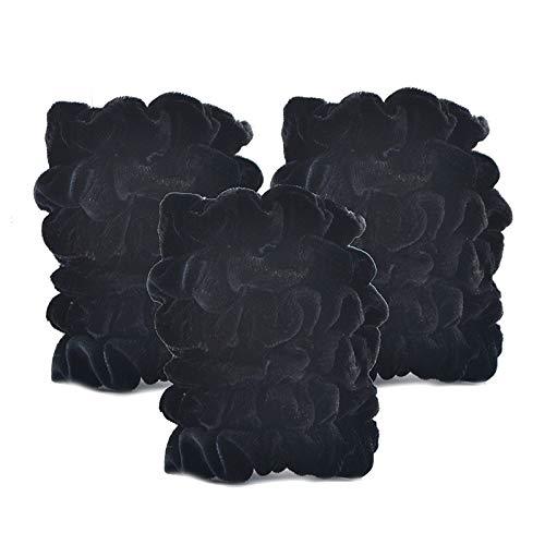 18 pièces/Lot femmes velours Scrunchie Paquet Bandeaux élastiques for fille Chouchous Couvre-chef Vintage Ties Accessoires cheveux (Color : Black, Siz