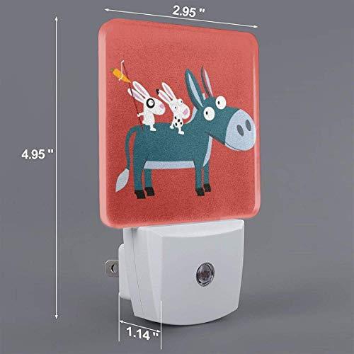 Zwei Kaninchen auf Donkey Print Plug-in Lampe mit Dämmerungssensor Auto On/Off Nachtlicht, Nachtlicht
