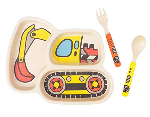 Kid Teller Set Bambus Kleinkind Teller Geschirr Abendessen Geschirr Set Baby Fütterung Auslaufsicher Geteilte Platte - Baby Löffel und Gabel 3-teiliges Set umweltfreundlich (1excavator)
